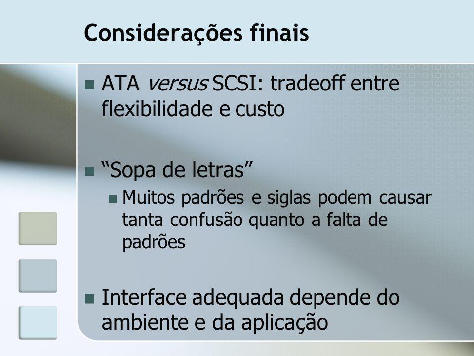 Considerações finais ATA versus SCSI: tradeoff entre flexibilidade e custo. Sopa de letras