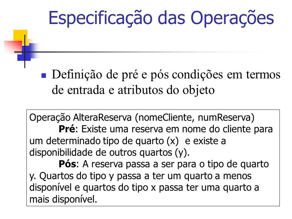 Especificação das Operações