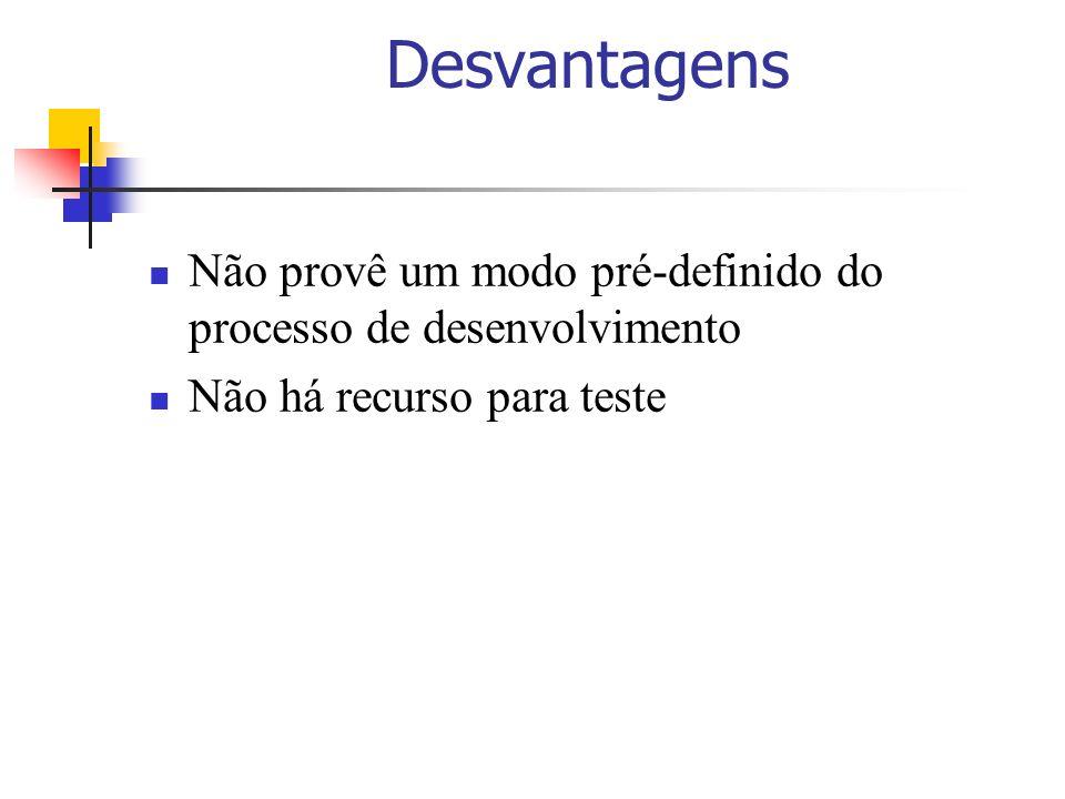 DesvantagensNão provê um modo pré-definido do processo de desenvolvimento. Não há recurso para teste.