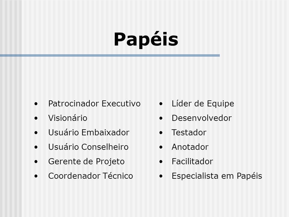 Papéis Patrocinador Executivo Visionário Usuário Embaixador
