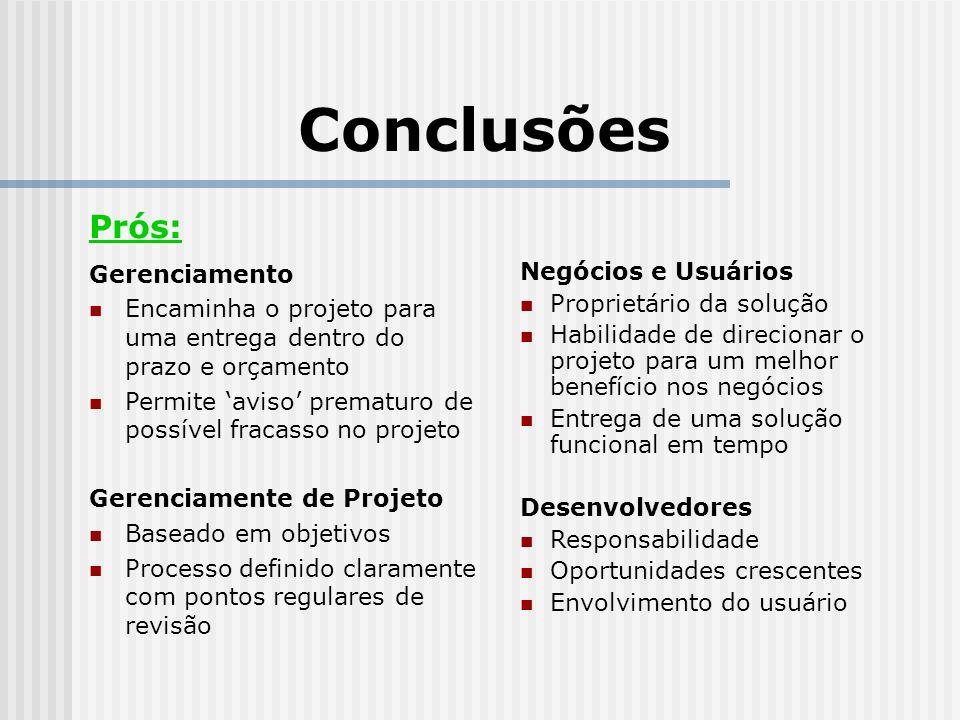 Conclusões Prós: Gerenciamento