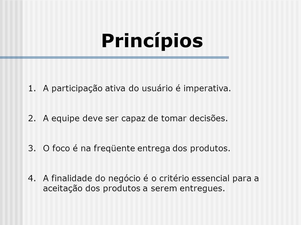 Princípios A participação ativa do usuário é imperativa.