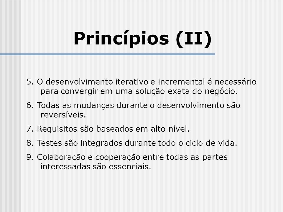 Princípios (II) 5. O desenvolvimento iterativo e incremental é necessário para convergir em uma solução exata do negócio.