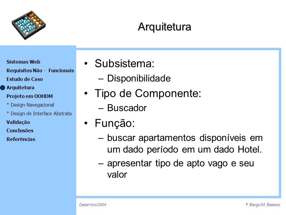 Arquitetura Subsistema: Tipo de Componente: Função: Disponibilidade