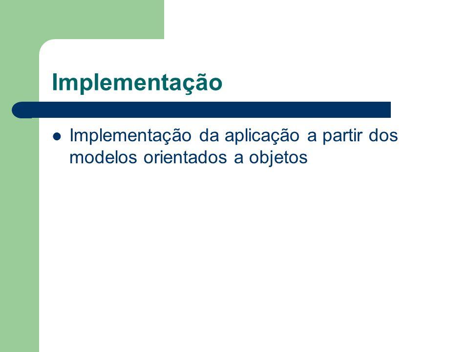 Implementação Implementação da aplicação a partir dos modelos orientados a objetos.