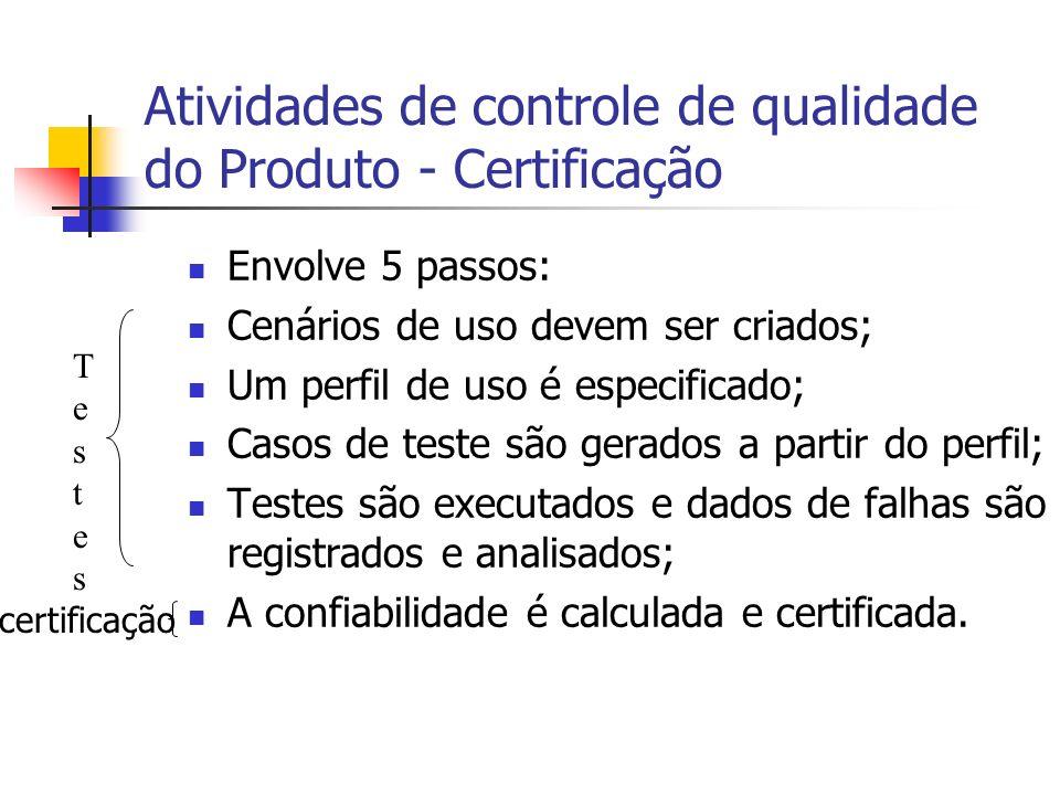 Atividades de controle de qualidade do Produto - Certificação