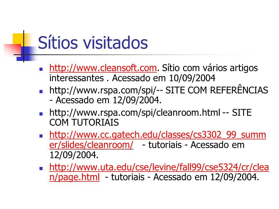 Sítios visitados http://www.cleansoft.com. Sítio com vários artigos interessantes . Acessado em 10/09/2004.