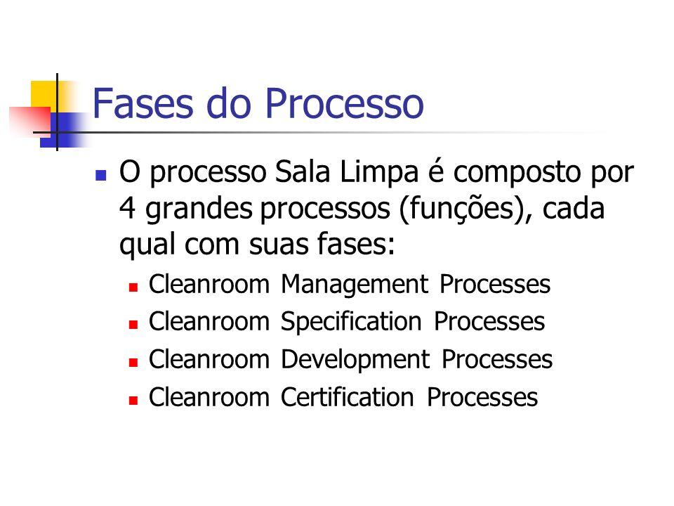 Fases do Processo O processo Sala Limpa é composto por 4 grandes processos (funções), cada qual com suas fases: