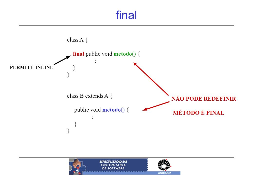 final class A { final public void metodo() { : } class B extends A {
