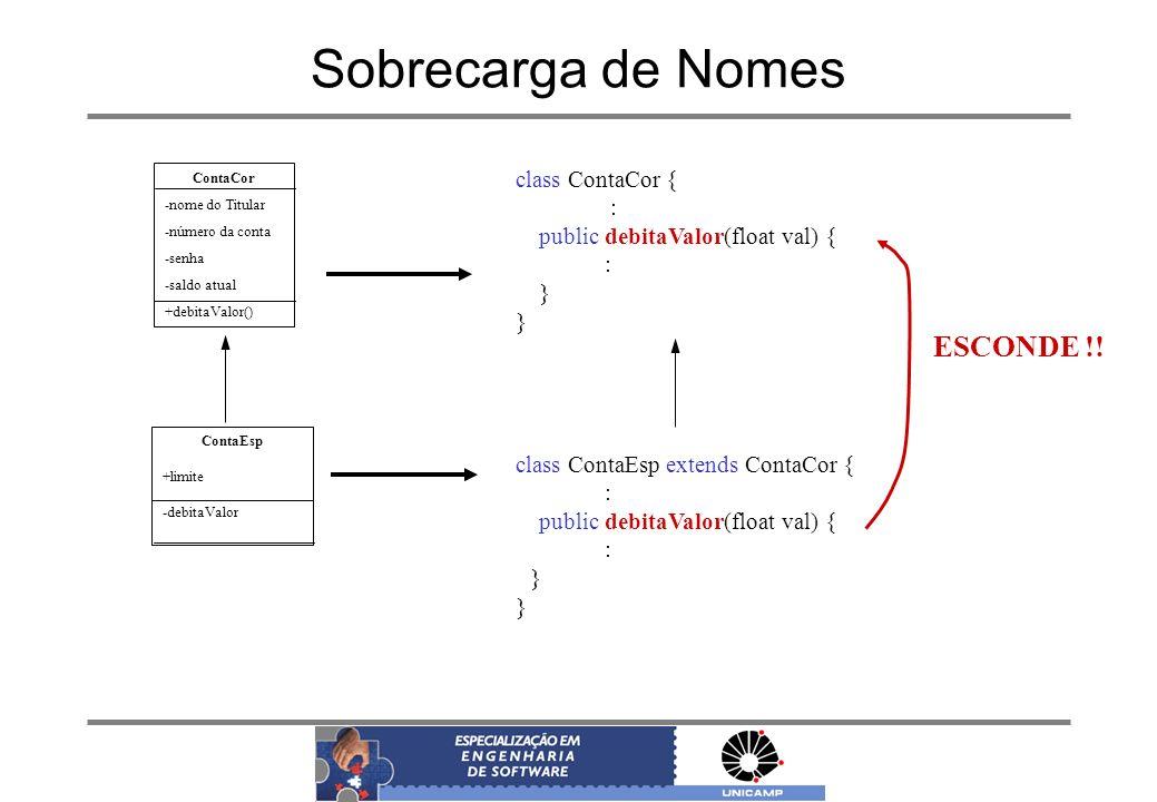 Sobrecarga de Nomes ESCONDE !! class ContaCor { :