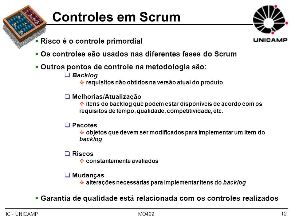 Controles em Scrum Risco é o controle primordial