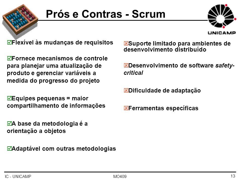Prós e Contras - Scrum Flexível às mudanças de requisitos
