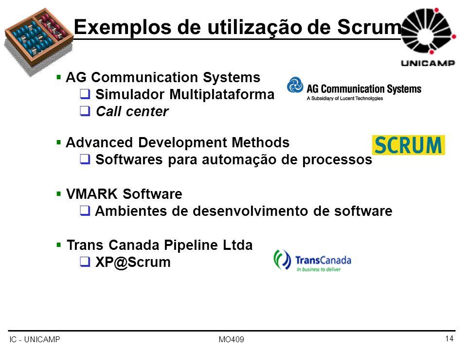Exemplos de utilização de Scrum