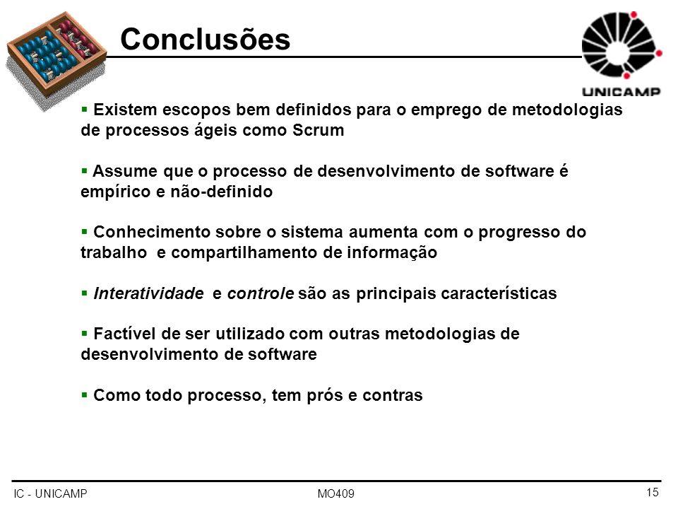 Conclusões Existem escopos bem definidos para o emprego de metodologias de processos ágeis como Scrum.