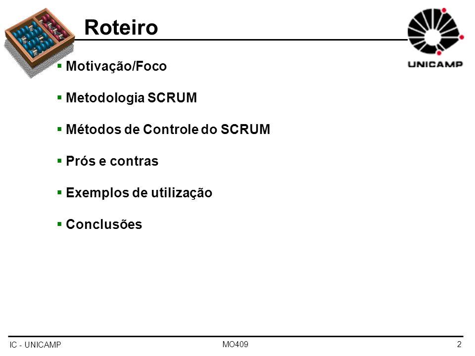 Roteiro Motivação/Foco Metodologia SCRUM Métodos de Controle do SCRUM