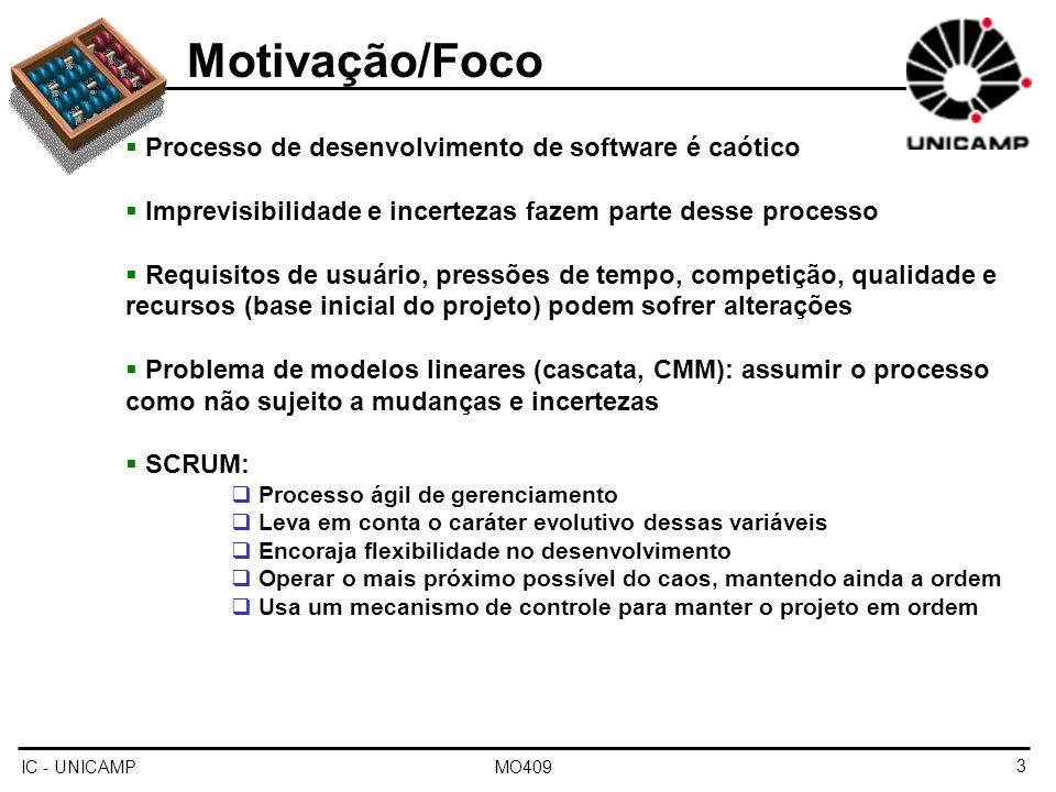 Motivação/Foco Processo de desenvolvimento de software é caótico