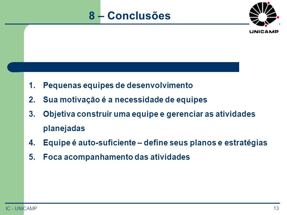 8 – Conclusões Pequenas equipes de desenvolvimento