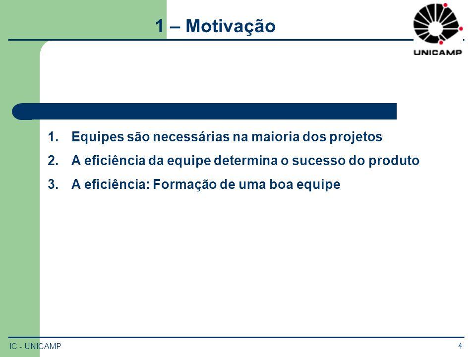 1 – Motivação Equipes são necessárias na maioria dos projetos