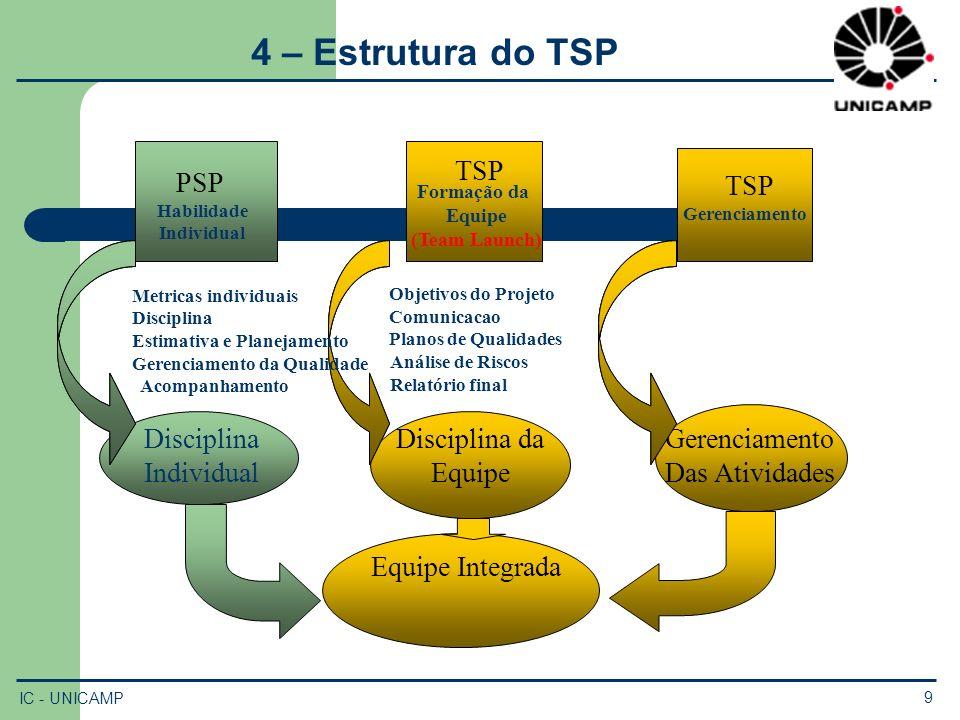 4 – Estrutura do TSP TSP PSP TSP Disciplina Individual Disciplina da
