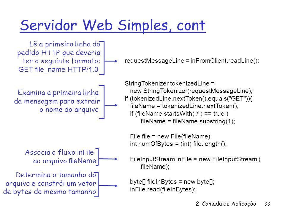 Servidor Web Simples, cont