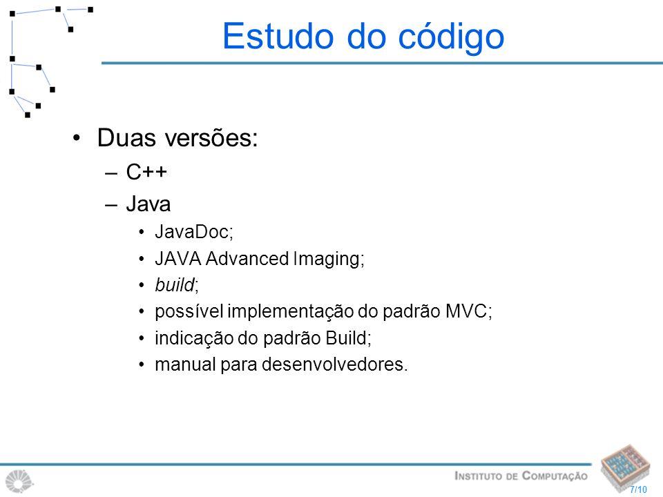 Estudo do código Duas versões: C++ Java JavaDoc;
