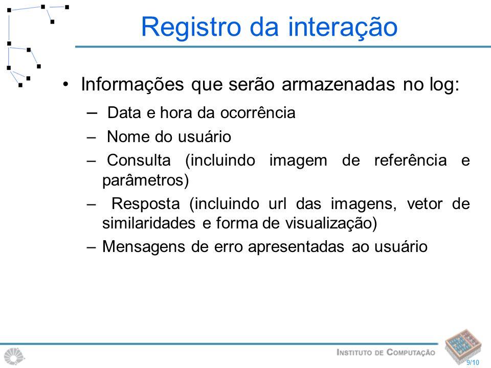Registro da interação Informações que serão armazenadas no log: