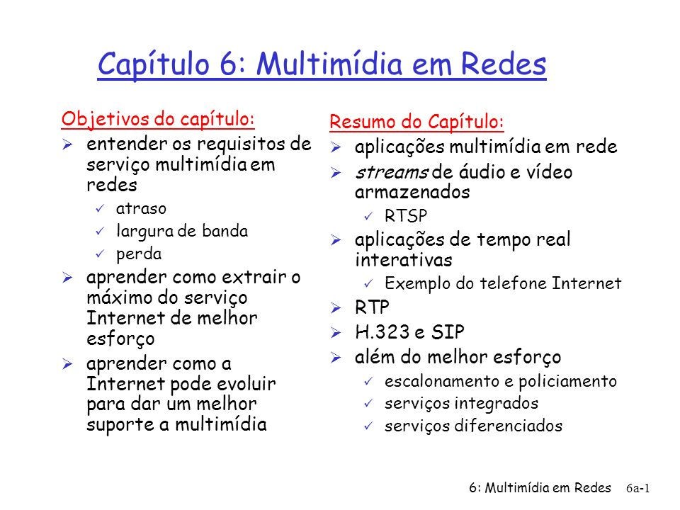 Capítulo 6: Multimídia em Redes