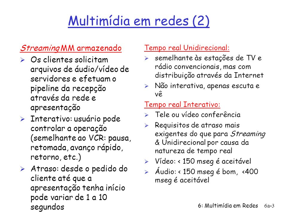 Multimídia em redes (2) Streaming MM armazenado