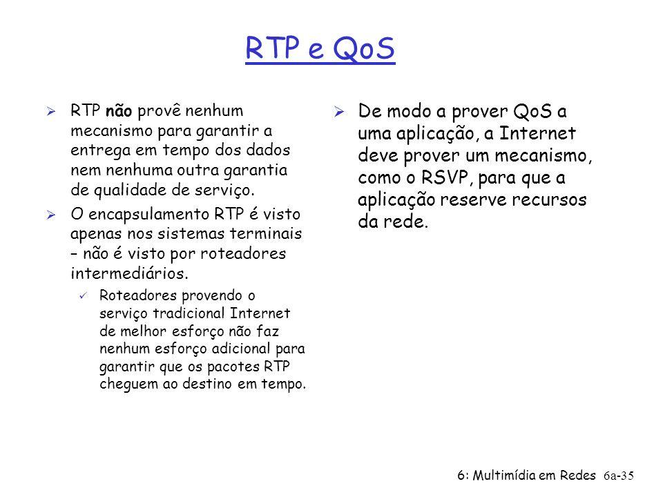 RTP e QoS RTP não provê nenhum mecanismo para garantir a entrega em tempo dos dados nem nenhuma outra garantia de qualidade de serviço.