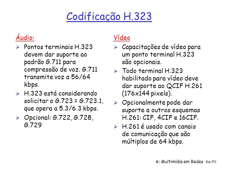 Codificação H.323 Áudio: Pontos terminais H.323 devem dar suporte ao padrão G.711 para compressão de voz. G.711 transmite voz a 56/64 kbps.