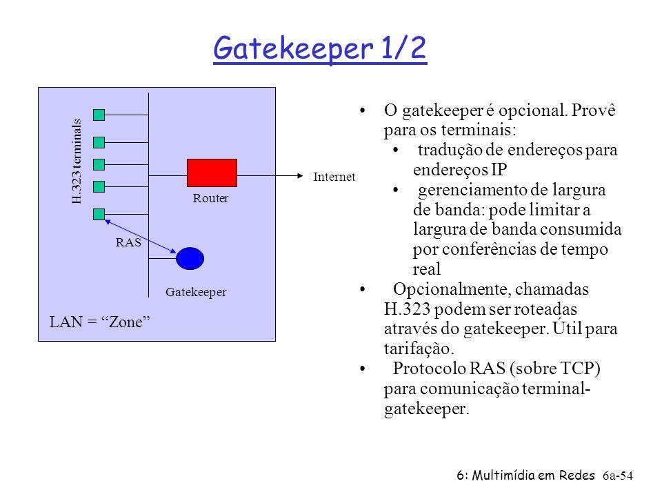 Gatekeeper 1/2 O gatekeeper é opcional. Provê para os terminais: