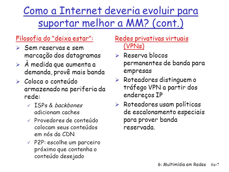 Como a Internet deveria evoluir para suportar melhor a MM (cont.)