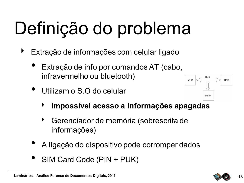 Definição do problema Extração de informações com celular ligado