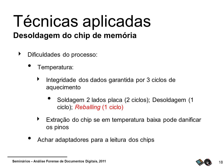 Técnicas aplicadas Desoldagem do chip de memória