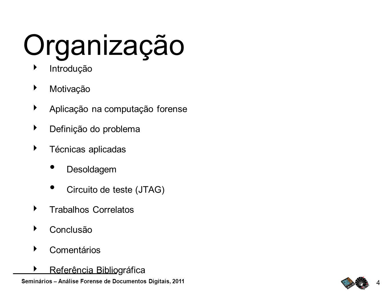 Organização Introdução Motivação Aplicação na computação forense