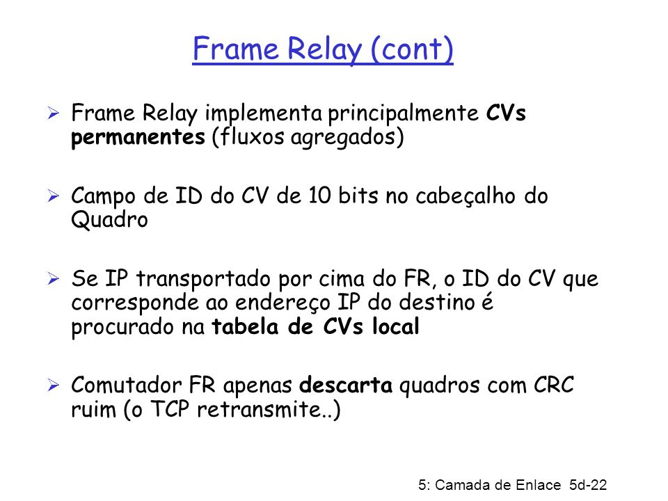 Frame Relay (cont) Frame Relay implementa principalmente CVs permanentes (fluxos agregados) Campo de ID do CV de 10 bits no cabeçalho do Quadro.