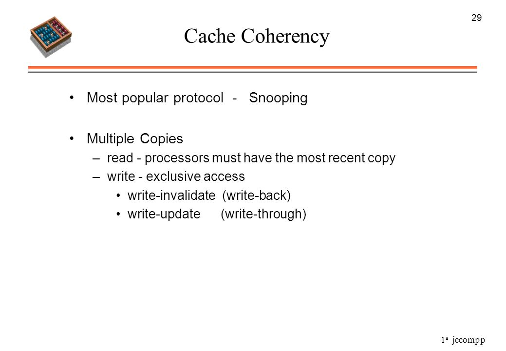 Cache Coherency Most popular protocol - Snooping Multiple Copies