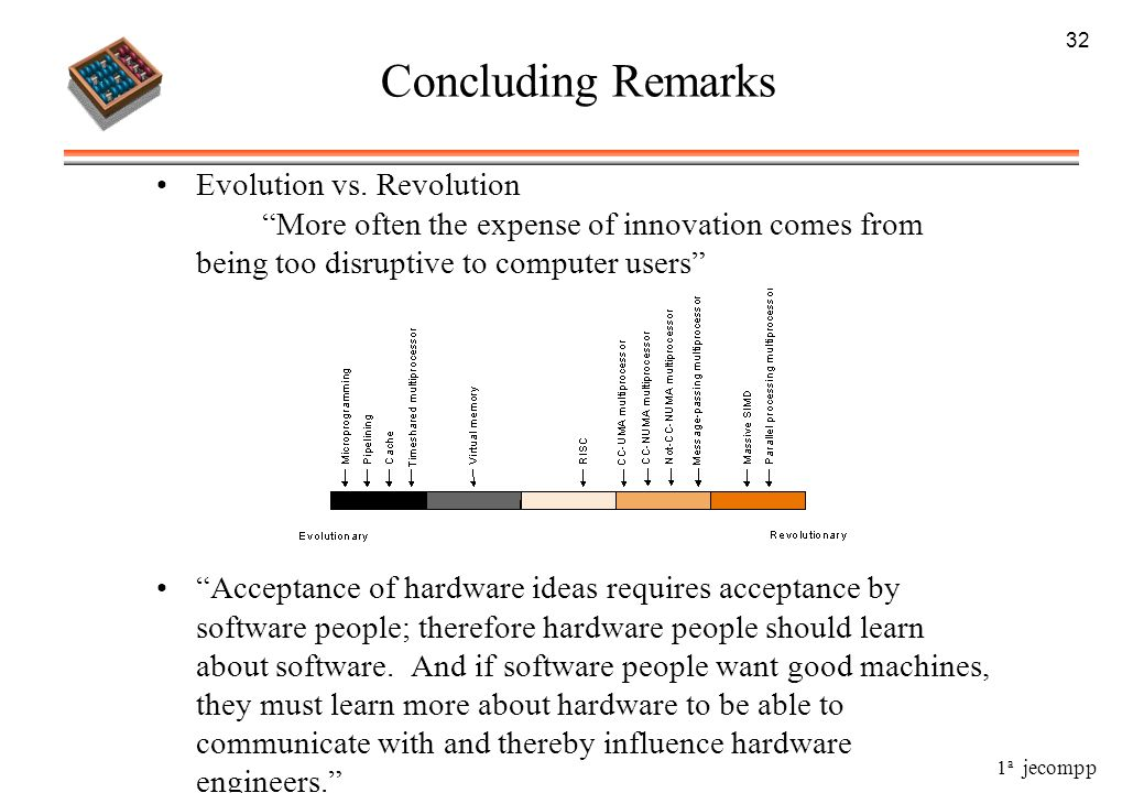 32 Concluding Remarks. Evolution vs. Revolution More often the expense of innovation comes from being too disruptive to computer users