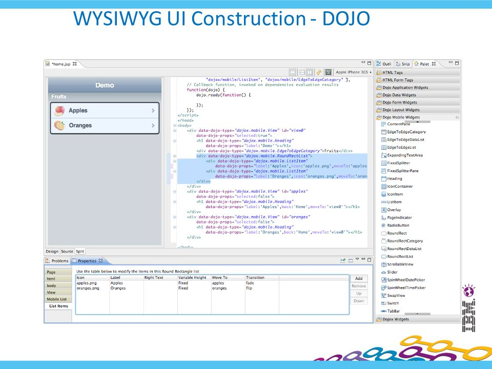 WYSIWYG UI Construction - DOJO