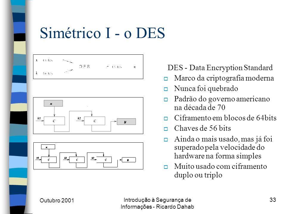 Simétrico I - o DES DES - Data Encryption Standard