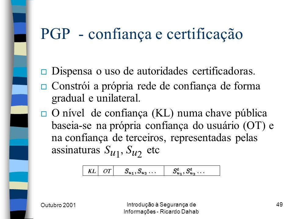 PGP - confiança e certificação