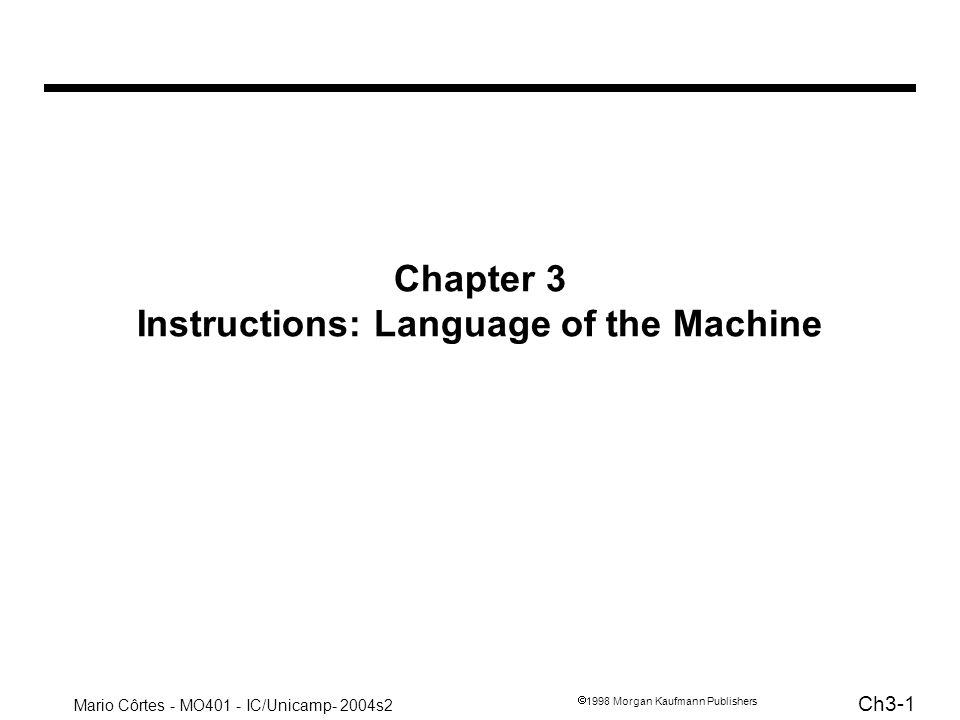Chapter 3 Instructions: Language of the Machine