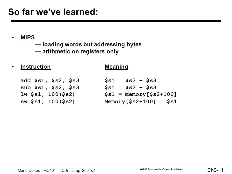 So far we've learned: MIPS — loading words but addressing bytes — arithmetic on registers only.