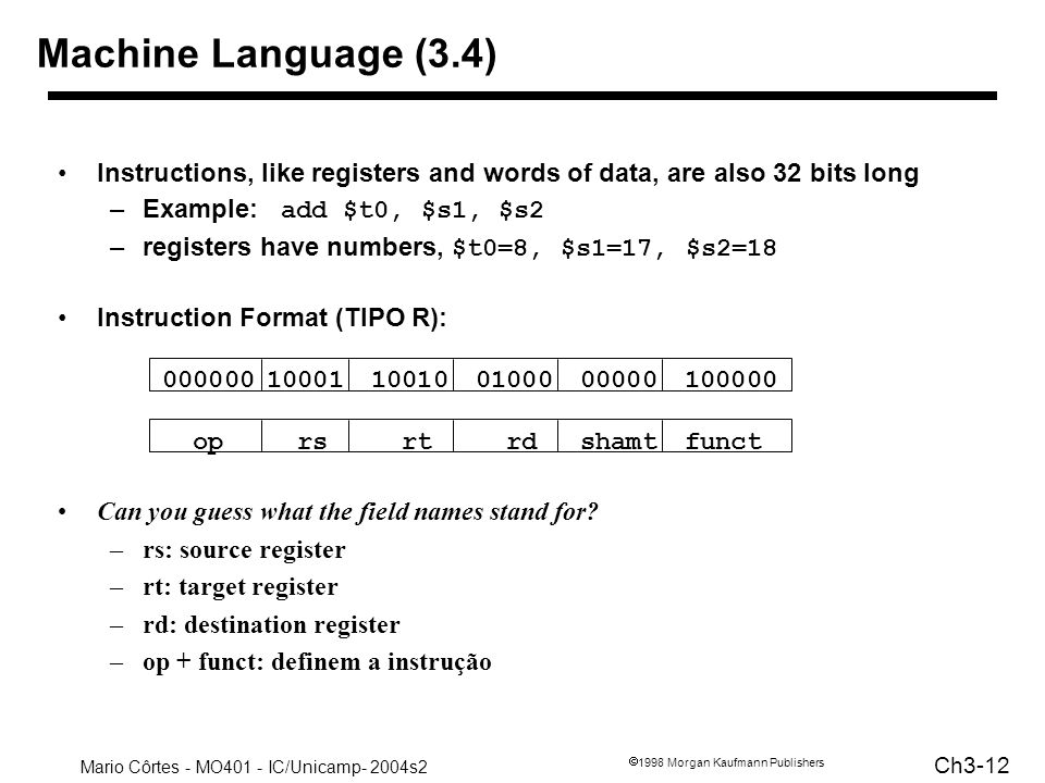 Machine Language (3.4) Board work: Binary Numbers