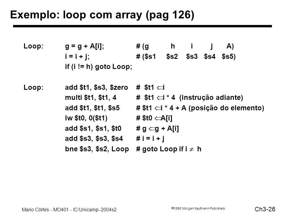 Exemplo: loop com array (pag 126)