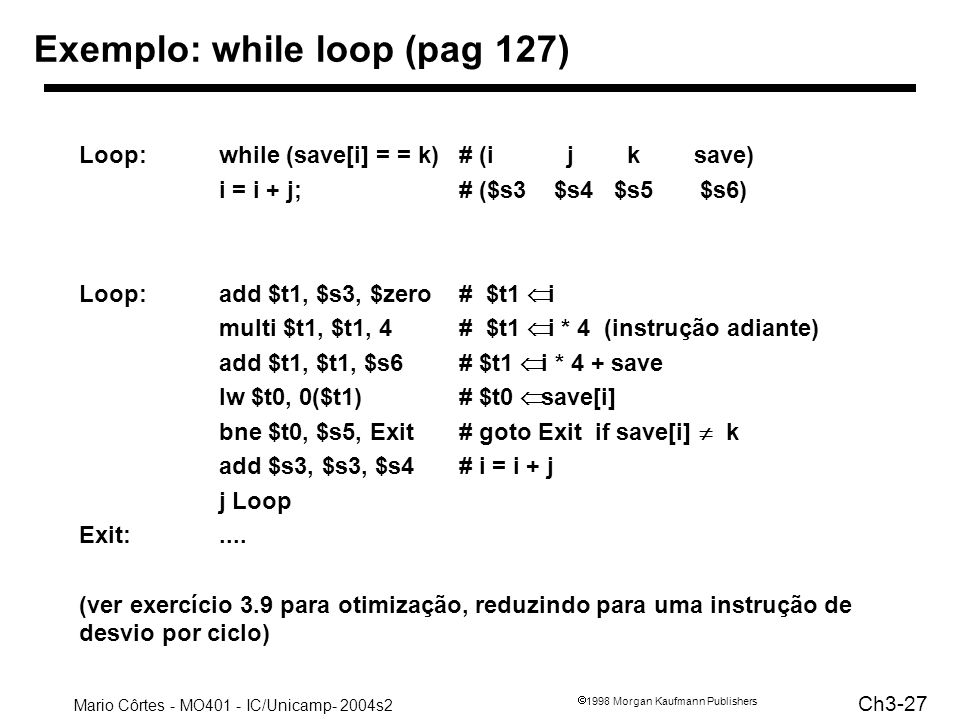 Exemplo: while loop (pag 127)