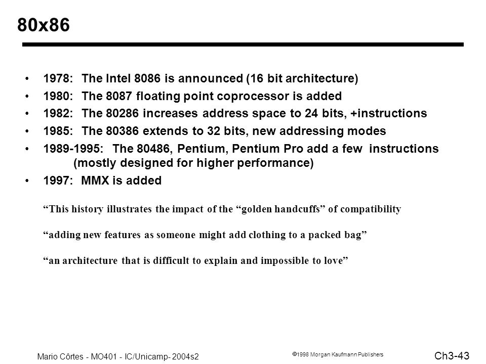 80x86 1978: The Intel 8086 is announced (16 bit architecture)