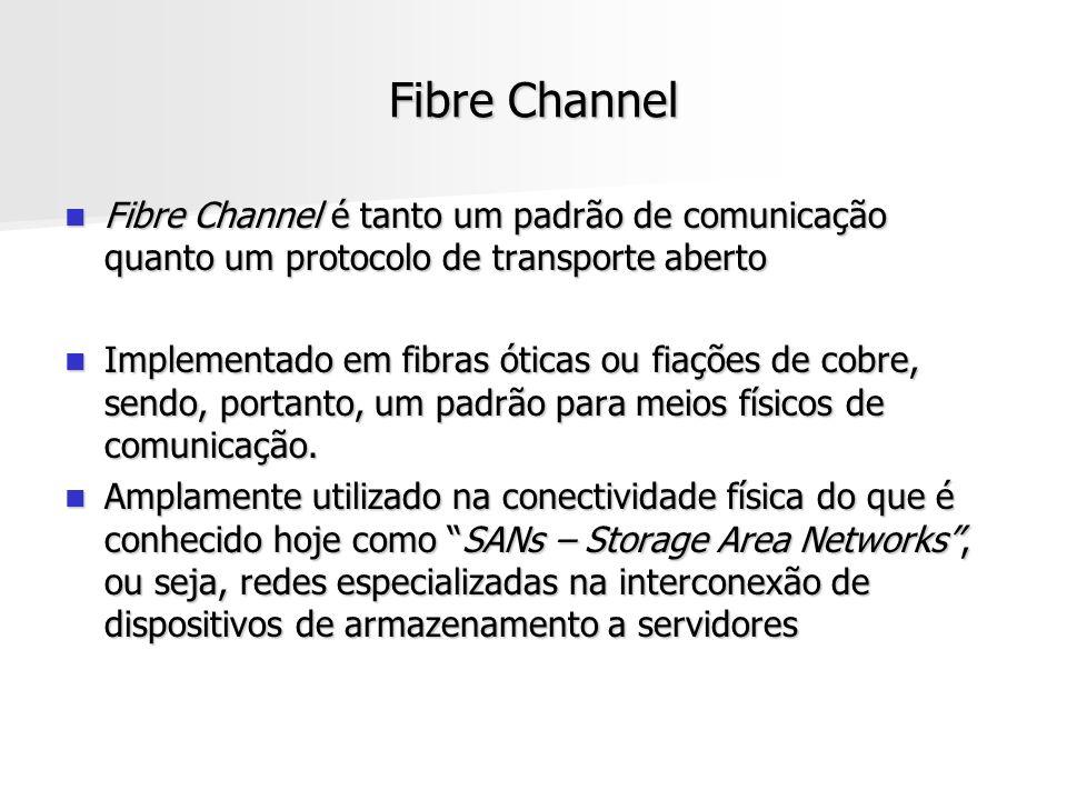 Fibre Channel Fibre Channel é tanto um padrão de comunicação quanto um protocolo de transporte aberto.