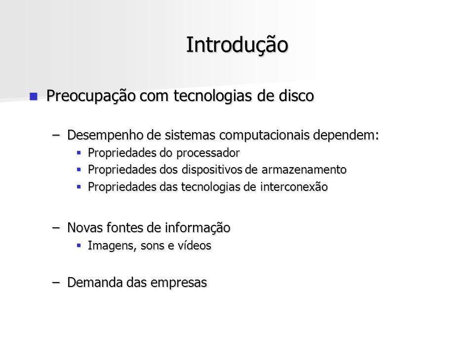 Introdução Preocupação com tecnologias de disco