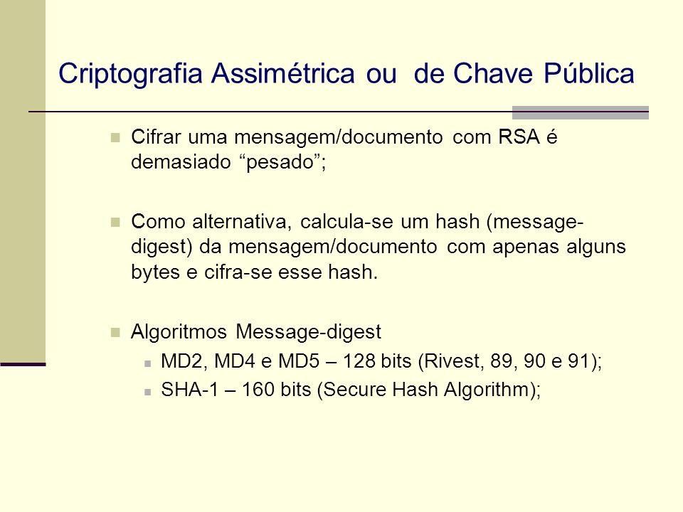 Criptografia Assimétrica ou de Chave Pública